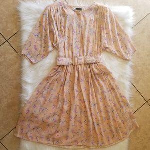 JT petites 1980's coral floral vintage dress sz10